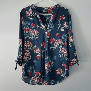 Ivanka Trump blue and red floral blouse size L